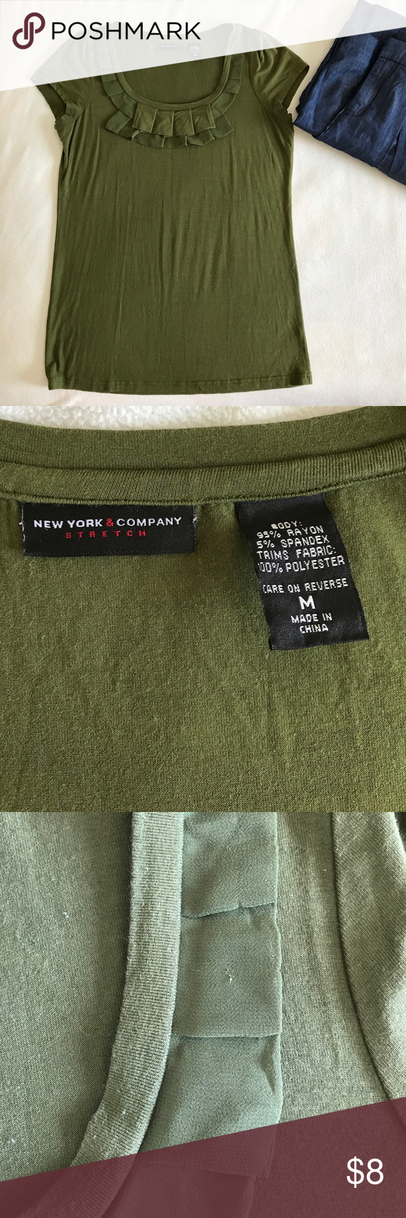NY&C Cute ruffled Tee. M soft and stretchy Good condition. Mild piling. Price reflects the condition. Cool army green color! New York & Company Tops Tees - Long Sleeve
