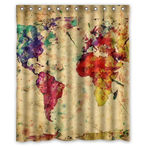 Boskgml custom vintage colorful world map waterproof polyester boskgml custom vintage colorful world map waterproof polyester fabric shower curtain in size 60 x gumiabroncs Images