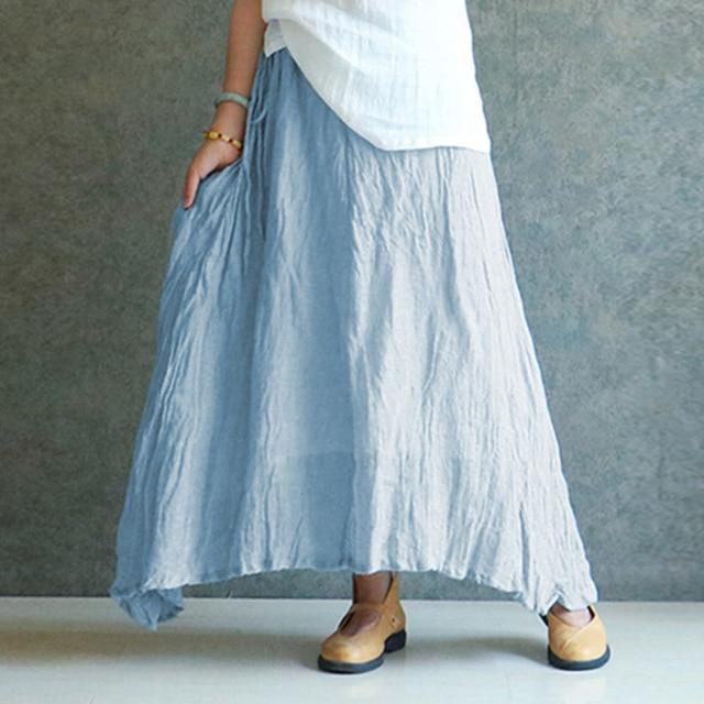 dfc28a753 Celmia Cotton Linen Long Skirt Oversized Women 2018 Summer Candy Color  Pleated Falda Vintage Elastic Waist Beach Maxi Skirt 2XL
