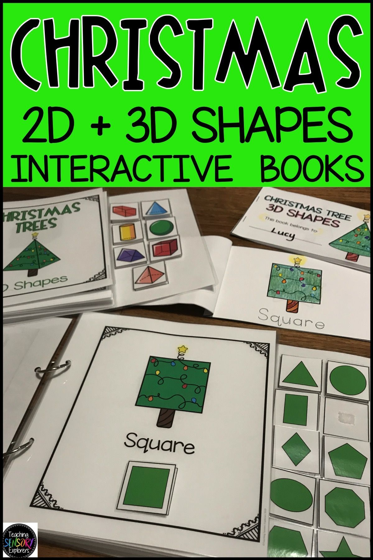 Christmas Tree 2d And 3d Shapes Interactive Books