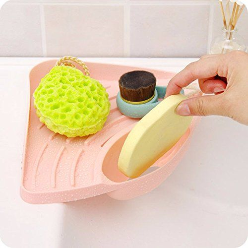 Candy Color Kitchen Sink Corner Storage Rack Sponge Holder Drainboard Bathroom Accessories Bathroom Gadgets Bathroom Colors Sponge Holder