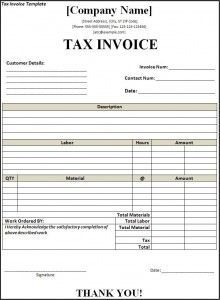 TaxInvoiceTemplate  A To Z Templates