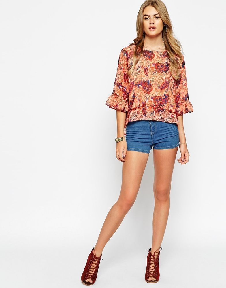 ASOS Folk Top in Paisley Floral Print (MULTI ) UK/14 EU/42 RRP £36.00