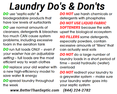 Septic Q A Continued Laundry Do S Dont S Liquid Or Powdered Is Fabric Softener Okay Find Out Laundry Products Septic Care Septic Tank Systems