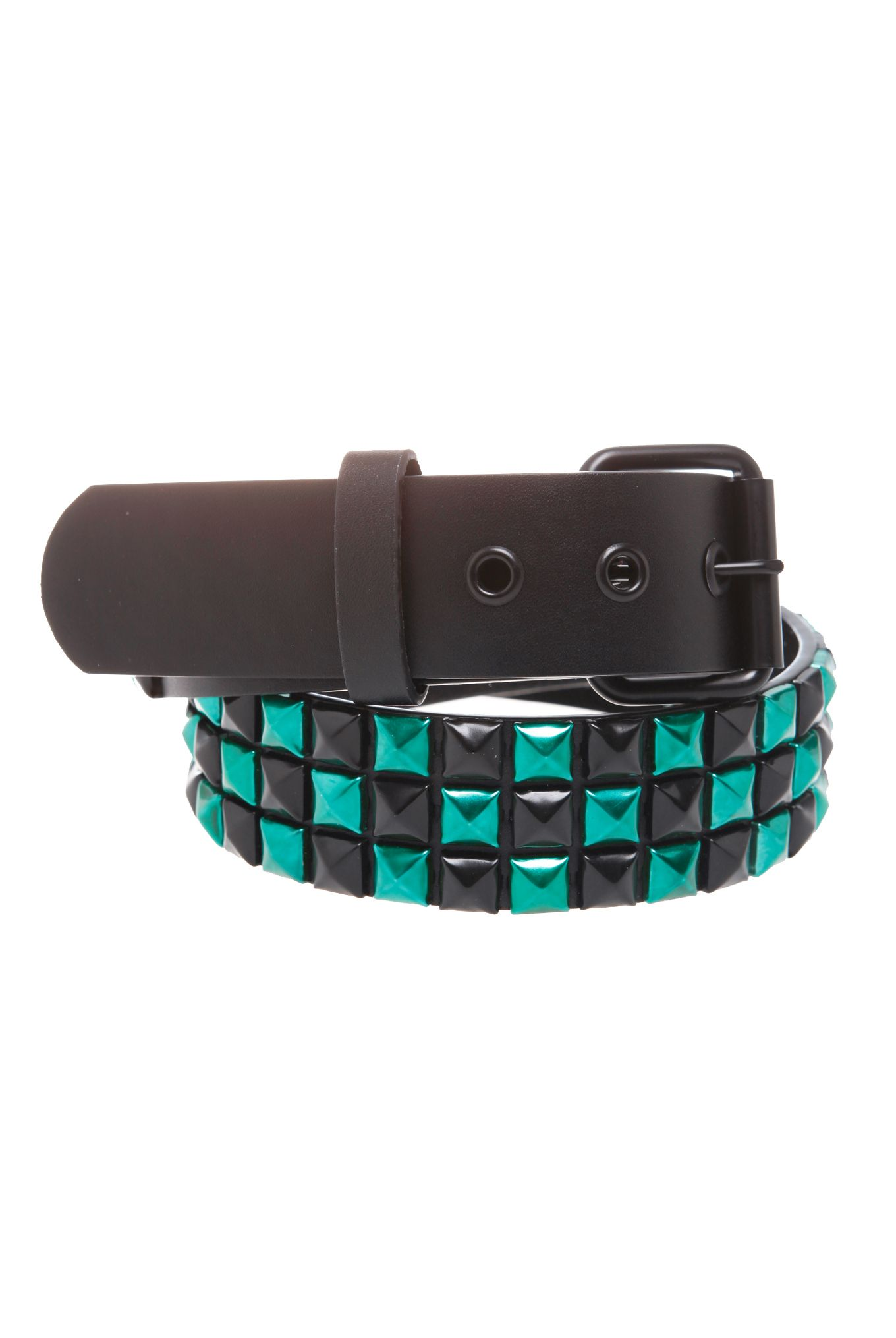 STUDDED FAUX LEATHER BELT MENS REMOVABLE BUCKLE PYRAMID CHEKERED STUDS BLUE