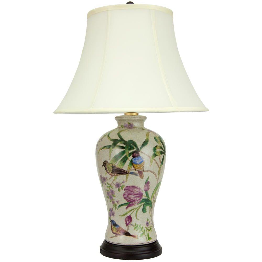 Handmade 24 Floral White Porcelain Lamp 16 W X 16 D X 24 5 H Beige Orientalfurniture In 2020 Oriental Furniture Fabric Shades Table Lamp
