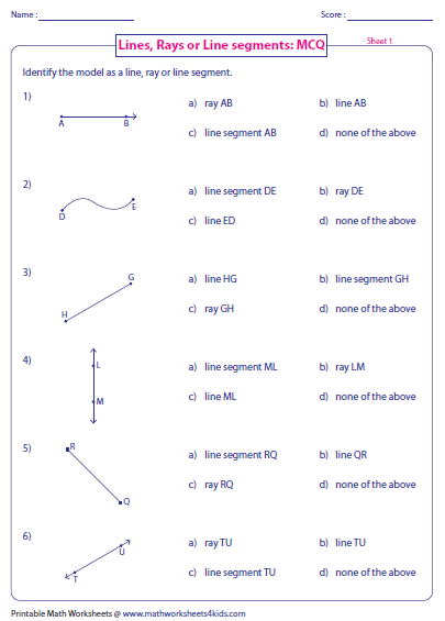 Identify lines, rays or line segments. | Geometry Worksheets ...