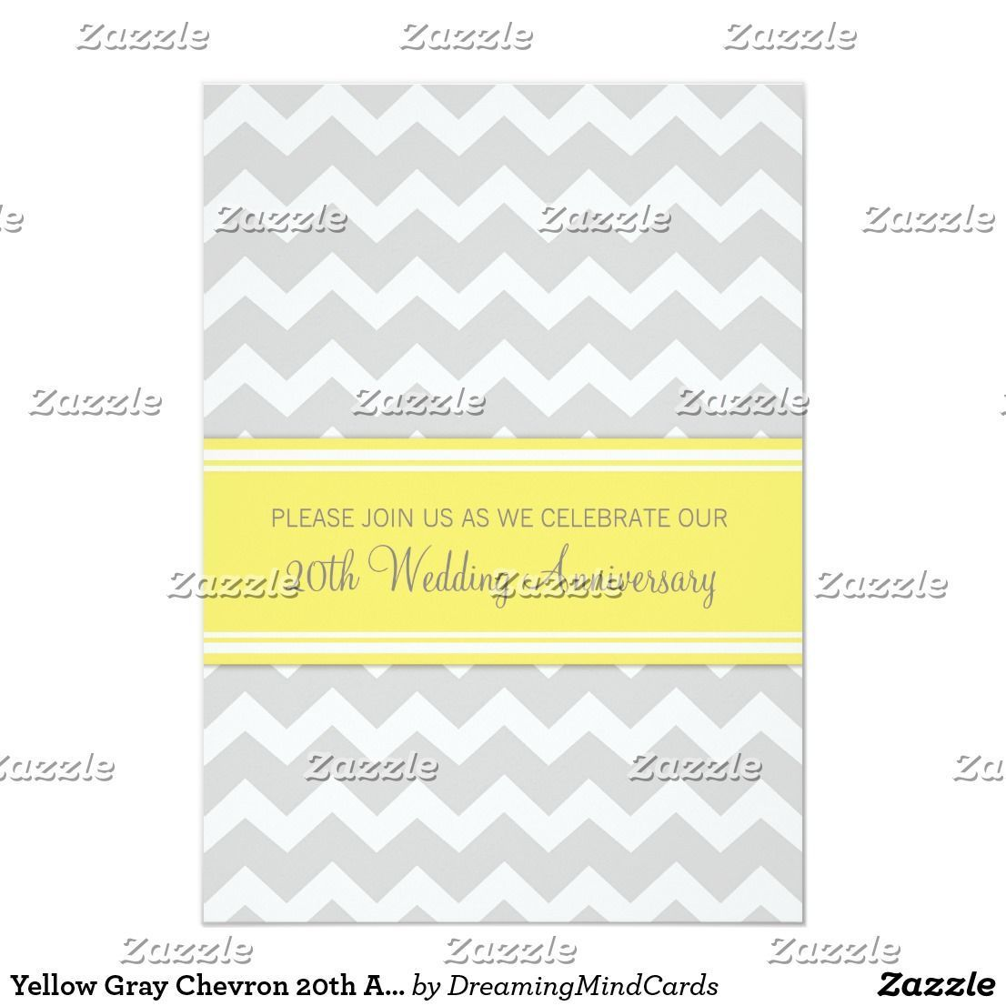 Yellow Gray Chevron 20th Anniversary InvitationNote: This is an affiliate link.  #wedding #weddings #weddinginvites #invites #invitation #weddingseason #seasonalwedding #gettingmarried #marriage #weddingplanning #fallwedding #mrandmrs #marriage #gettinghitched #weddingplanner #invite #savethedate #engagementparty #engagement #engaged #bridalshower #bride #shower #celebrate #20thanniversarywedding Yellow Gray Chevron 20th Anniversary InvitationNote: This is an affiliate link.  #wedding #weddings #20thanniversarywedding