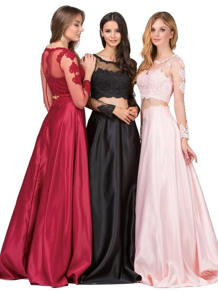 2 piece long sleeve prom dress dq9950 - CLOSEOUT   Prom, Long formal ...