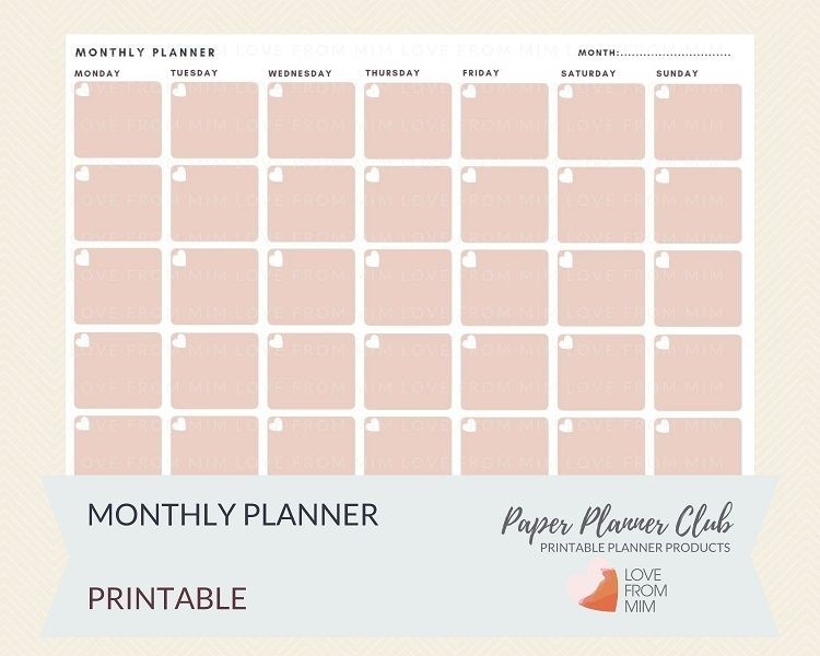 This Printable Monthly Planner Can Be Used For Any Month And Has