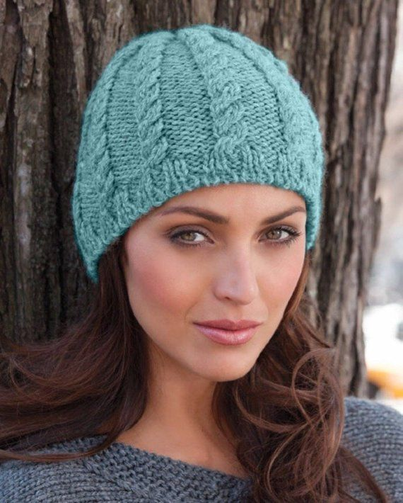 d1b3cc412ac Hand Knit Hat Cable Beanie in Blue-Green Wave - Knit Fall Fashion. Women s