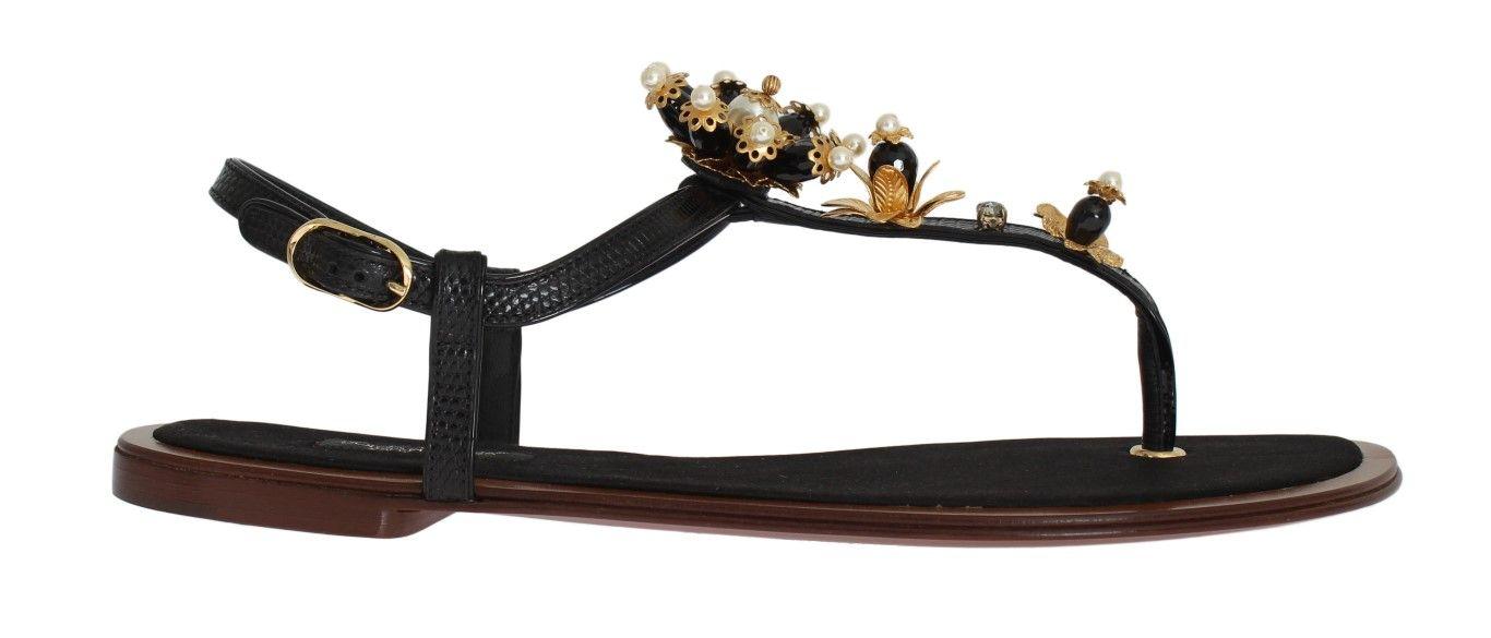 1885024a0014  DolceGabbana  SandalsFlipFlops Black Leather Crystal Floral Flip Flop  Sandals