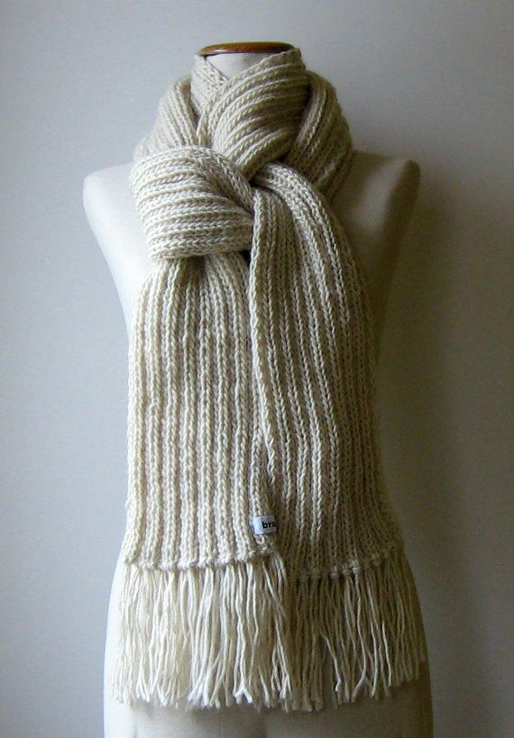 Natural White Wool Chunky Knit Scarf for Men, Hand Knit Womens ...