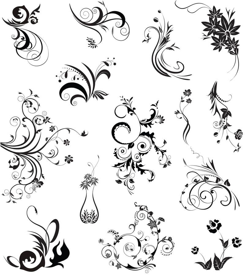 floral swirl ornaments vector