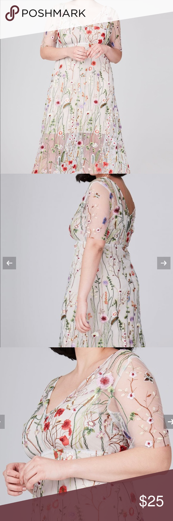 Elvi Floral Net Dress Size US 20/UK 24 Exquisitely embroidered with floral motifs, this delicate dress is the perfect does of whimsical dreaminess. Wear over a nude slip dress. **runs smaller ** size 20 us/U.K. Size 24 Elvi Dresses Midi