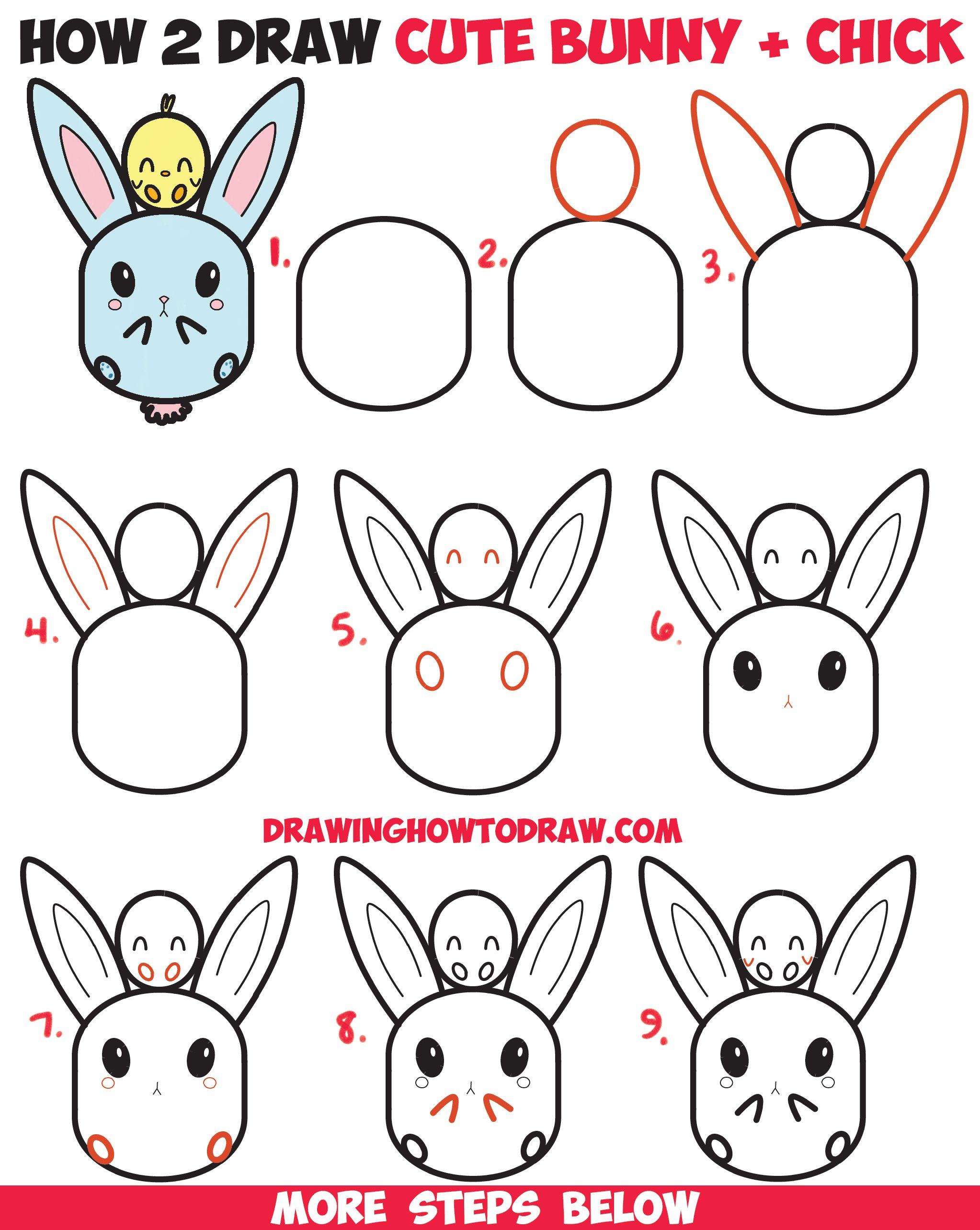 How to draw cute kawaii chibi bunny rabbit and baby chick easy step by step drawing tutorial for kids for easter and spring how to draw step by step