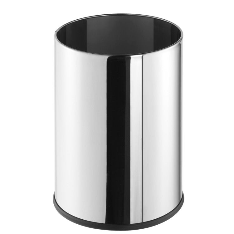 Free Standing Round Polished Stainless Steel Waste Bin Waste