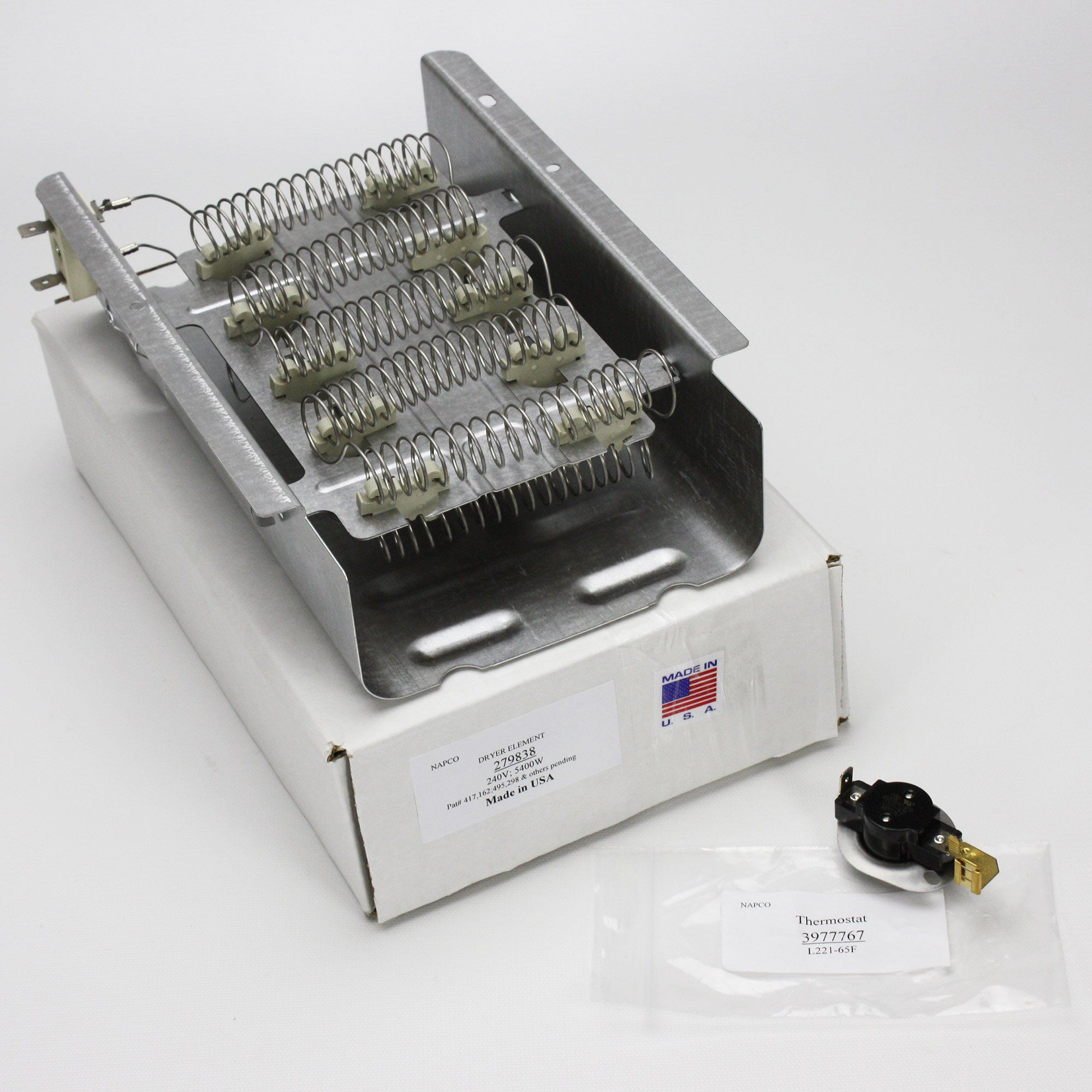 NAPCO279838 and 3977767 Dryer Heating Element and Thermostat For Whirlpool Kenmore