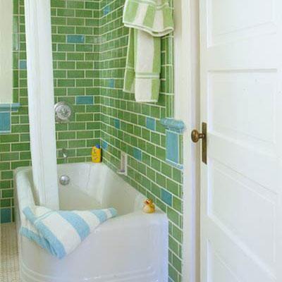 Bathroom Ideas And Bathroom Design Ideas Retro Bathrooms Subway - Green tile bathroom makeover