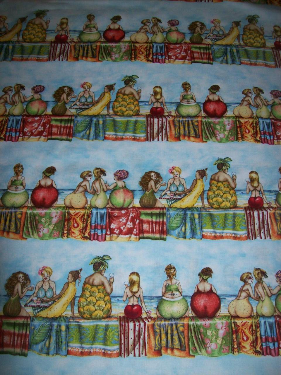 Per Yard fabric called fruit ladies by Elizabeth\'s Studio Beach ...