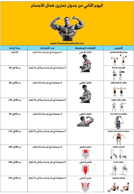 جدول تمارين كمال الاجسام Muscle Building Workouts Build Muscle Muscle