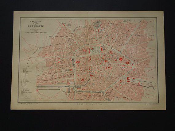 Large BRUSSELS map 1879 antique map of Brussels city plan original