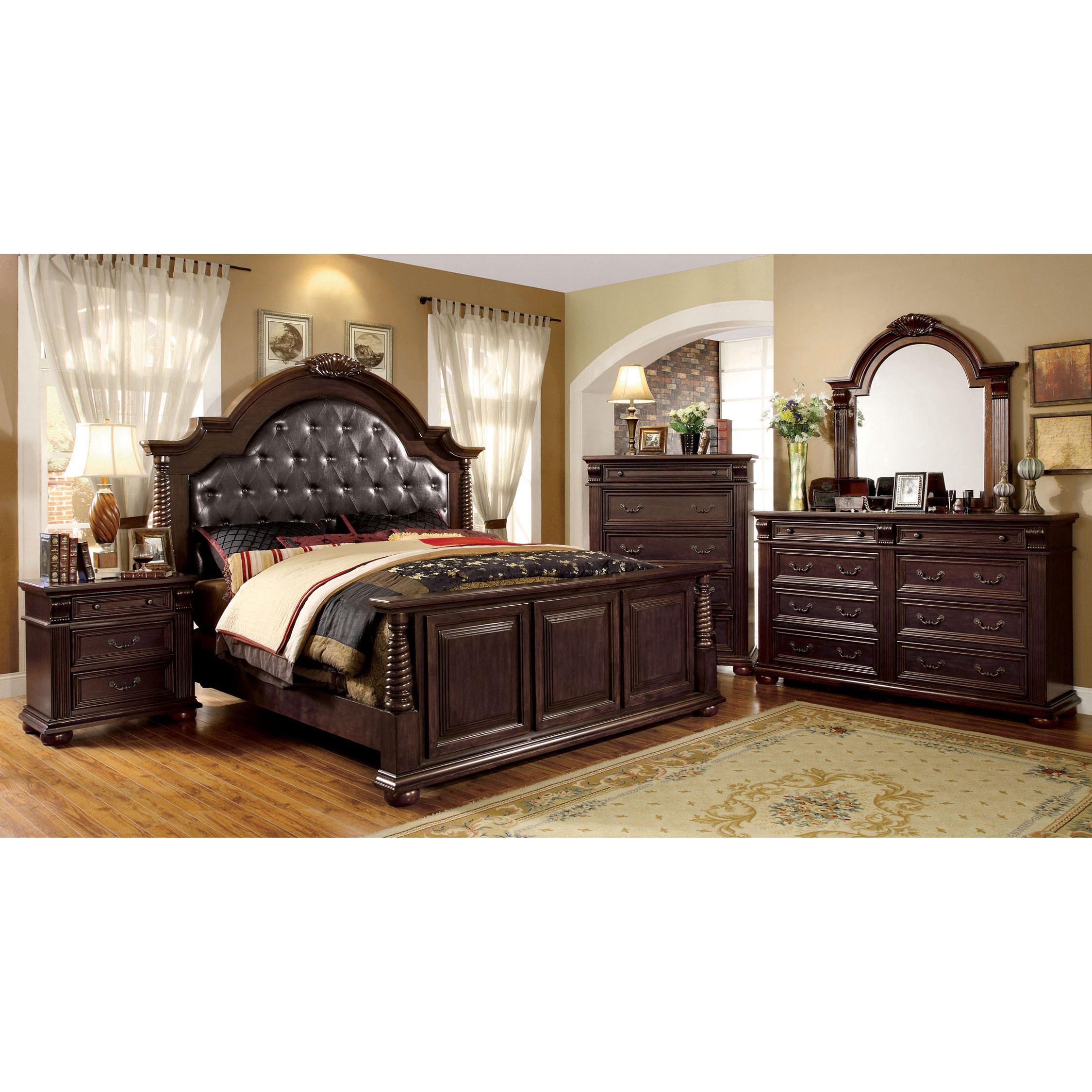 Furniture of america angelica english style brown cherry piece