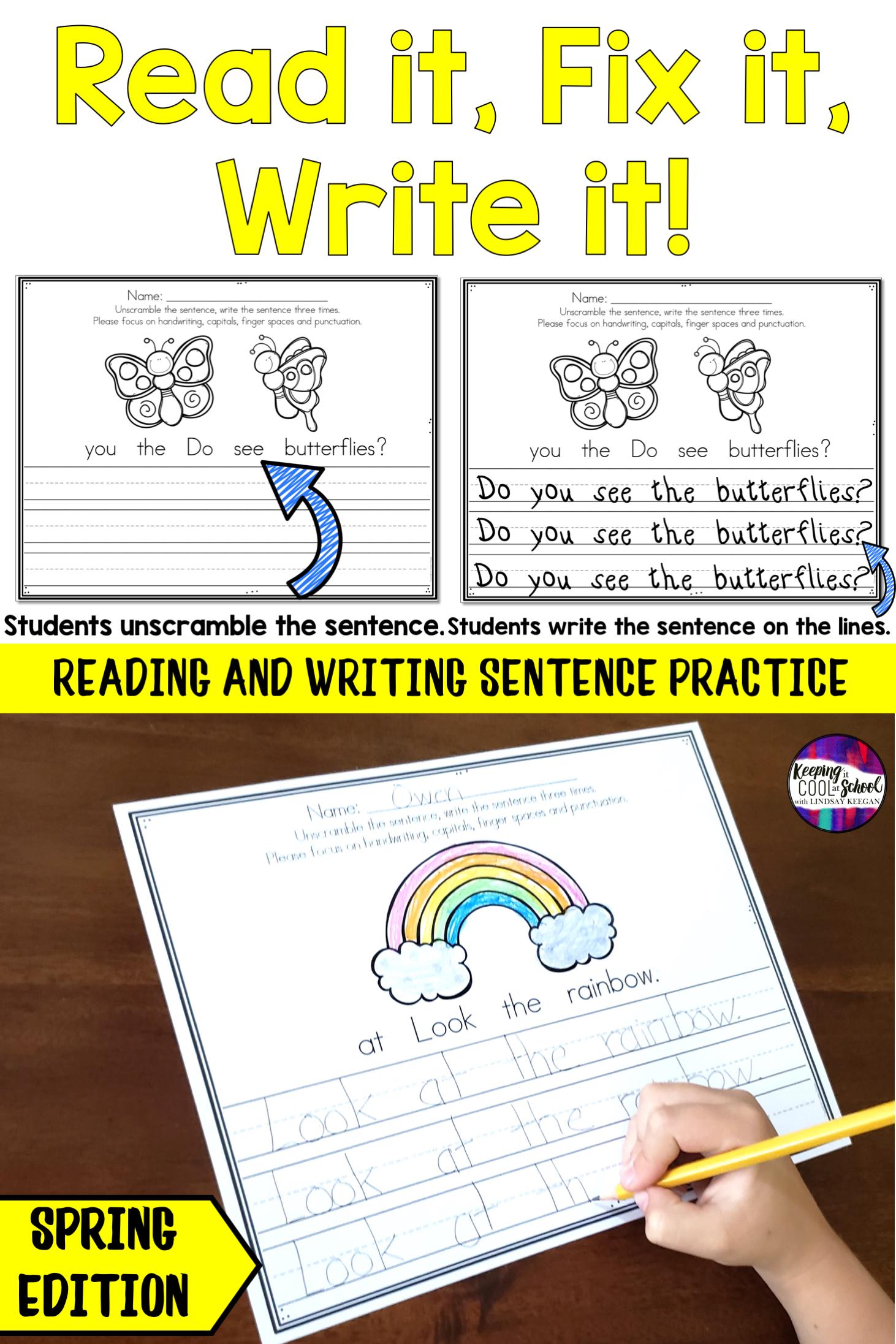 Spring Sentence Writing Practice