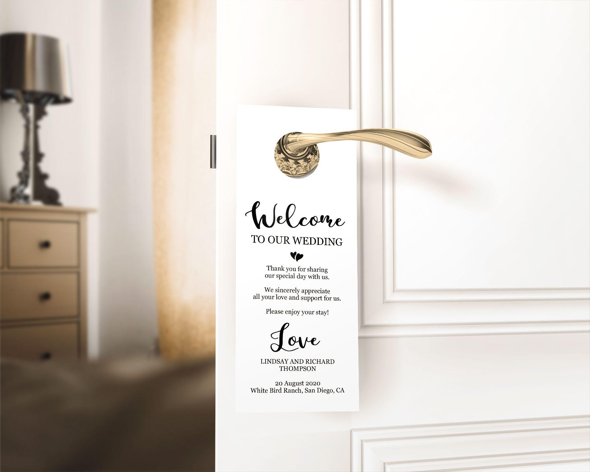 Printable Door Hanger Faux Gold Wedding Door Hanger Template Door Hanger Favor Gold Door Hanger Template MM07-3 PDF Instant Download