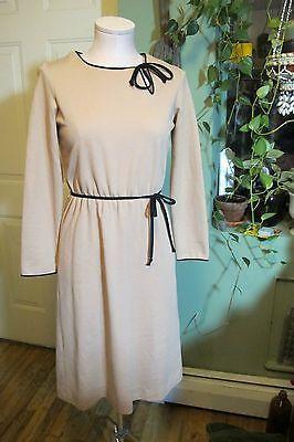 vintage LESLIE FAY 60s SHIFT day secretary DRESS XS/S black/beige long sleeve