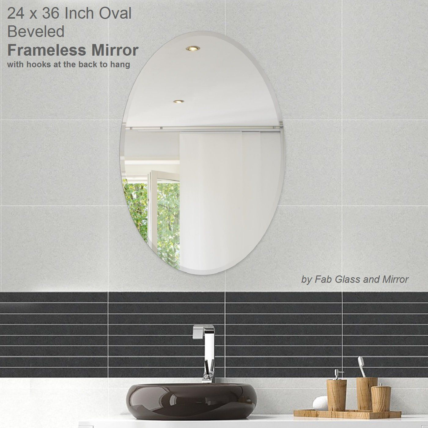 Fab Gl And Mirror Oval Beveled Polish Frameless Wall With Hooks L X W Polished Edge Safety