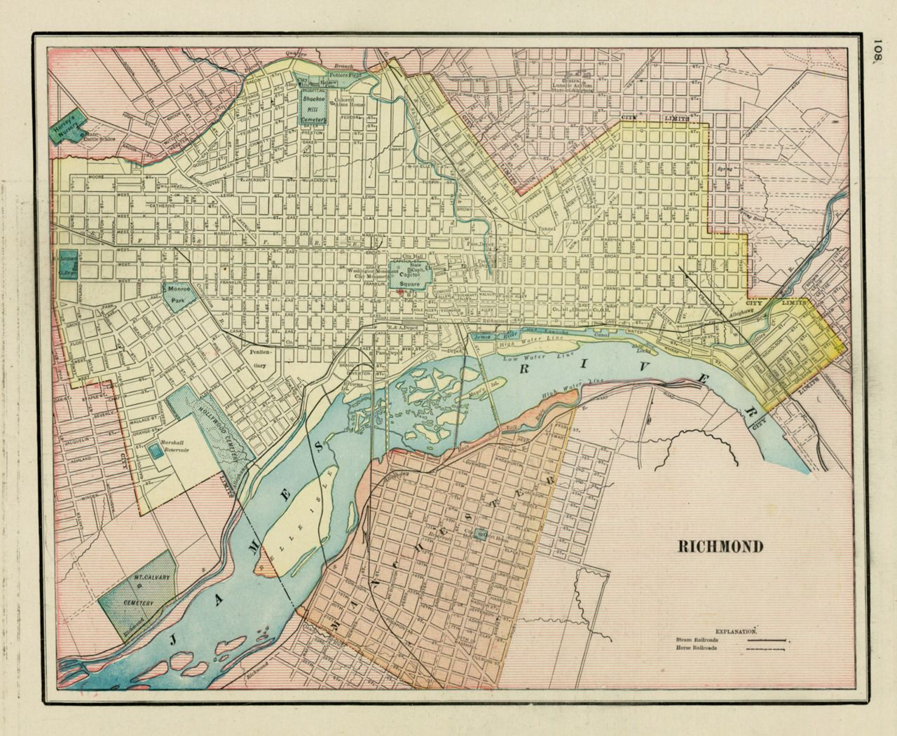 George Cram 1890 Richmond Virginia Maps Virginia Map - Richmond-virginia-on-us-map