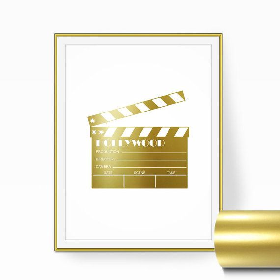 Movie Theater Decor MOVIE CLAPBOARD Real Gold by RetroArtPrints ...