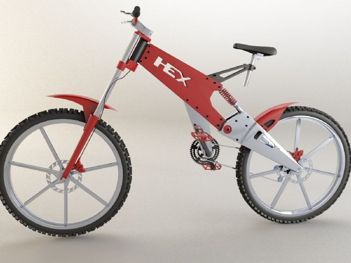 HEX - by Kenny Kalynuik -   This Bike was designed and built by me using Solidworks 2007 and rendered in 3d Studio Max Vray.