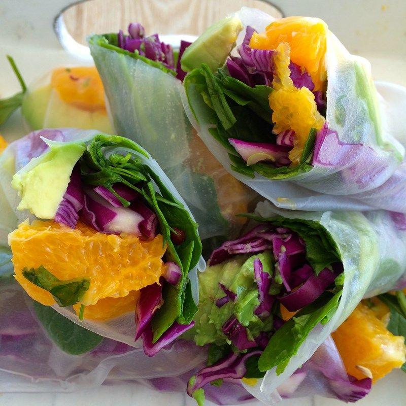 Orange Salsa and Chicken Rice Paper Rolls