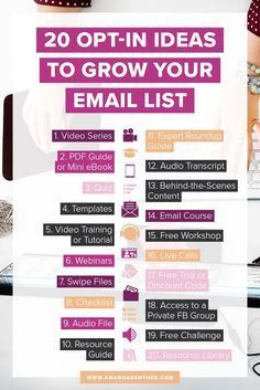 Ready to grow your email list? Here's 20 Opt-In Ideas to start a sales funnel.