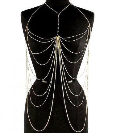 Body Chain Crystals Draping Metal Chains Gold Armor Designer Runway Fashion Statement Avant Garde $23.99 #freeship