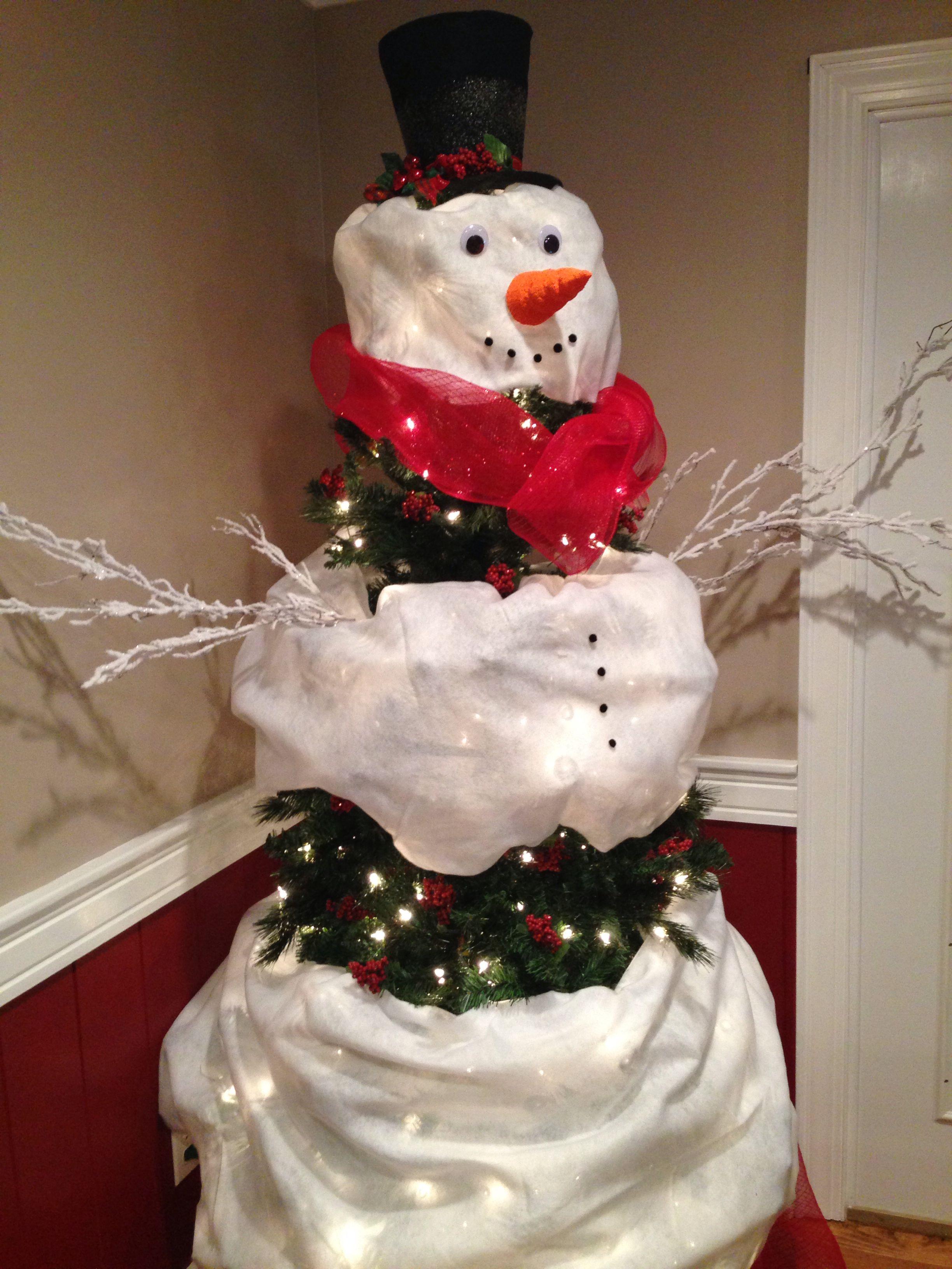 Snowman Christmas Tree   Christmas decorations, Snowman ...