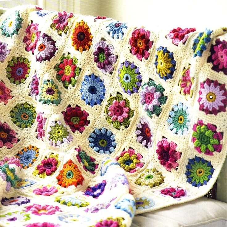 Crochet Flower Afghan Pattern Flower Afghan Crochet Pattern