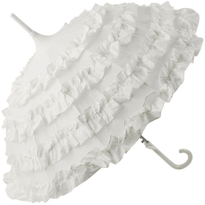 white wedding umbrella with 4 flounce frills by lisbeth. Black Bedroom Furniture Sets. Home Design Ideas