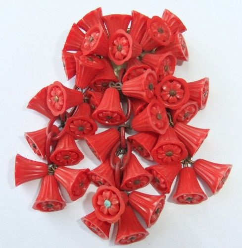 20th Century Miriam Haskell Red Celluloid Dangle Pin Clip Brooch