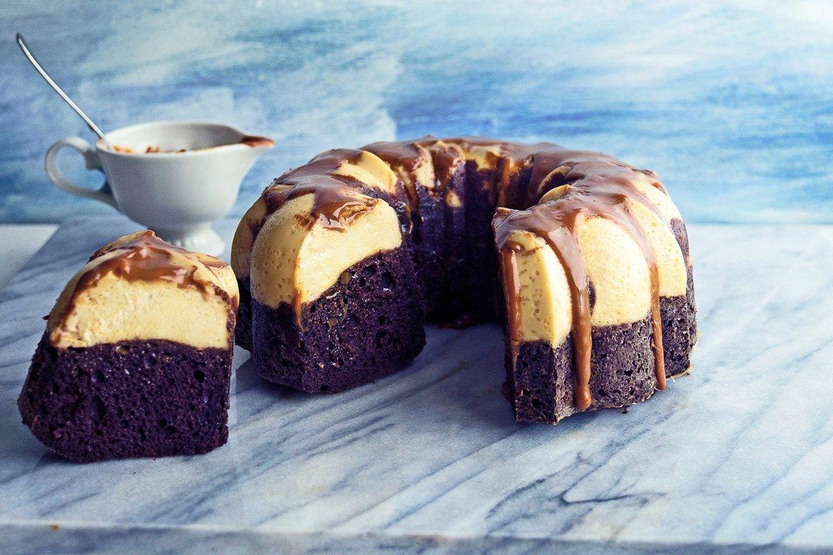 Recipe including cake mix, caramel sauce, cream cheese ...