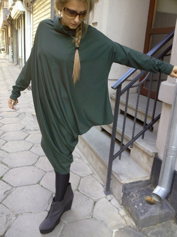 07f9e276aed Dark Green Extravagant Asymmetric Day Tunic Dress   Plus size tunic   Oversized  dress   Long Sleeved