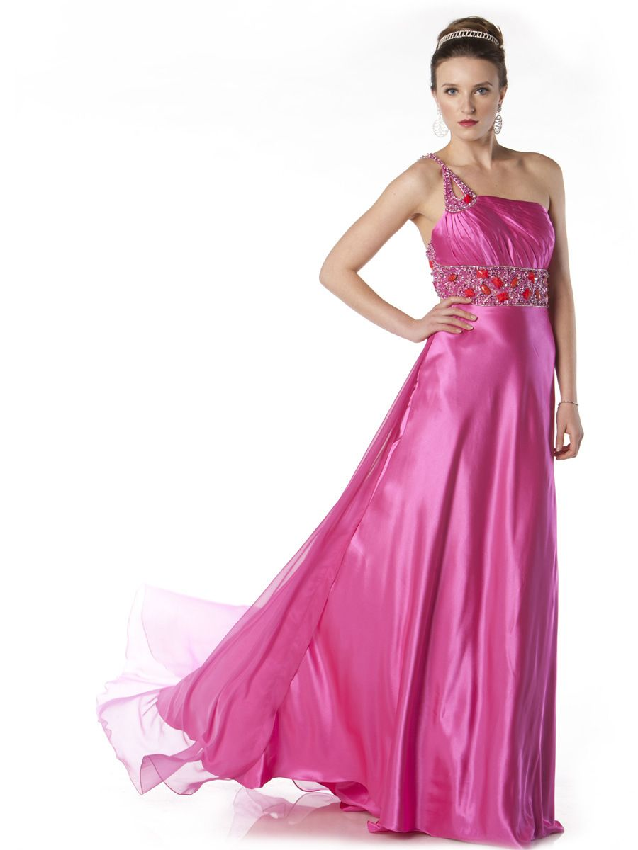 One shoulder full length asymmetrical gown, made from Span charmeuse ...