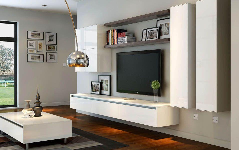 Sala de tv mderna cortinas living muebles rack de tv for Muebles de living