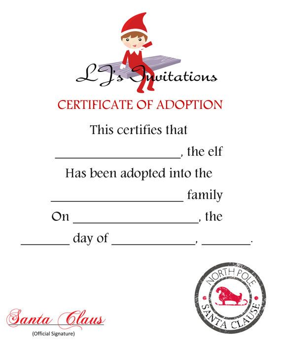 Elf On The Shelf Inspired Adoption Certificate by LJsInvitations - printable christmas certificates