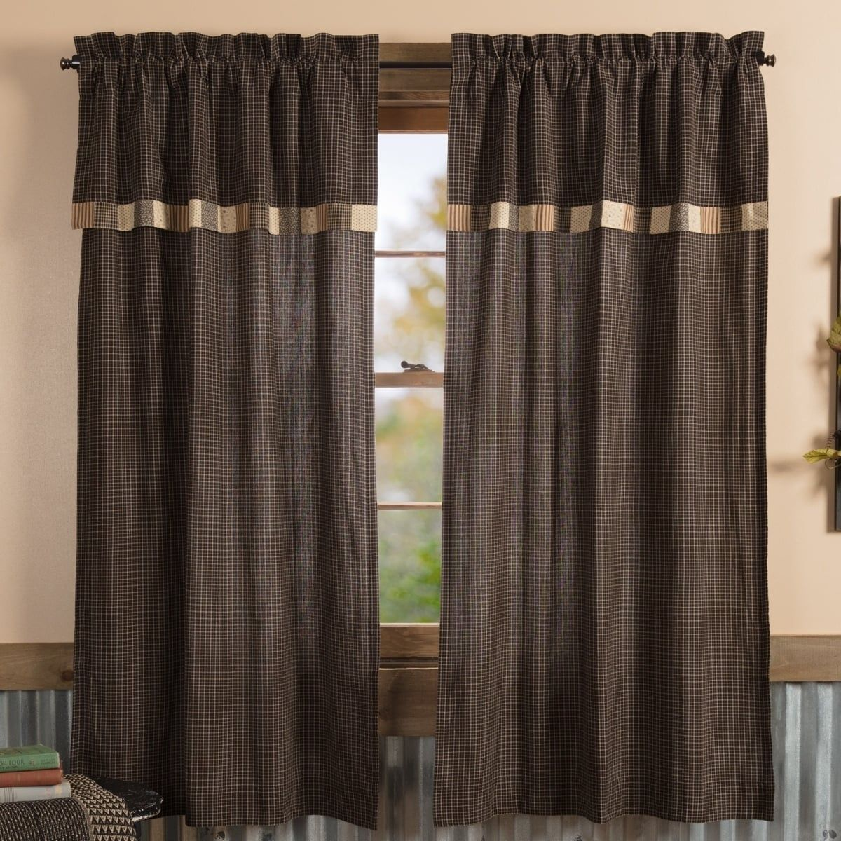 Vhc Country Black Primitive Curtains Kettle Grove Block Border Plaid Short Panel With Valance Pair Vhc Brands 6 Vhc Brands Primitive Curtains