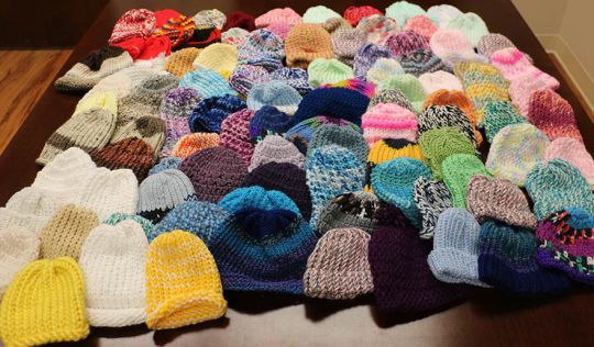 Hello– this is my first blog as I am advancing my contributions to the Knitting Rays of Hope cause. I am very proud to let you know that we delivered 75 baby hats and 1 big crocheted Tetris b…