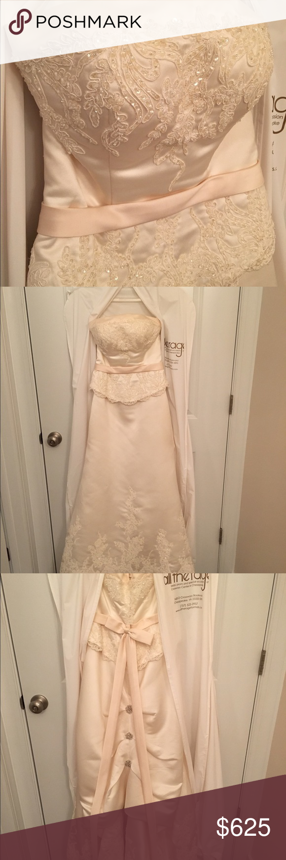 Wedding dress train bustle  Ivory wedding dress with lace and crystals  Pinterest  French
