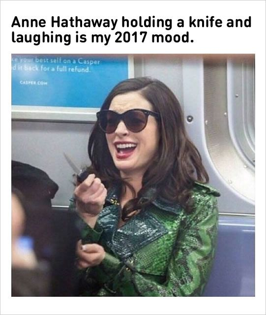 10 Celebrity Memes ! #2 Anne Hathaway Holding A Knife And